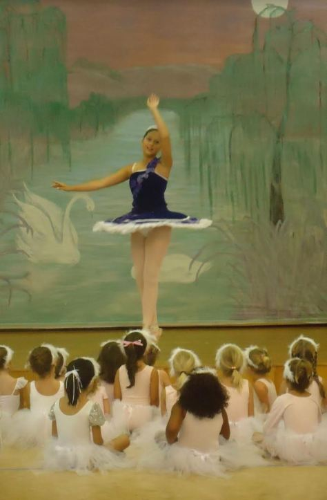 Local ballerina Kristen performs for students at the Spring Recital.